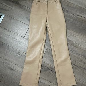 Wilfred Aritzia leather tan melina pant dupe